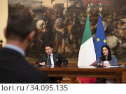 Italian Prime Minister Giuseppe Conte (L) and Education Minister Lucia Azzolina (R) hold a joint press conference at the Chigi Palace in Rome, Italy, 26... Редакционное фото, фотограф Masiello uff Stampa / age Fotostock / Фотобанк Лори