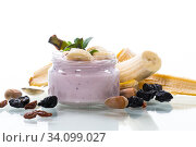 Купить «home sweet banana yogurt in a glass jar», фото № 34099027, снято 1 апреля 2020 г. (c) Peredniankina / Фотобанк Лори