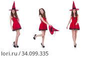 Young female model posing in red mini dress. Стоковое фото, фотограф Elnur / Фотобанк Лори