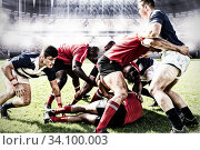 Купить «Digital composite image of team of rugby players tackling each other to win the ball in sports stadi», фото № 34100003, снято 4 августа 2020 г. (c) Wavebreak Media / Фотобанк Лори