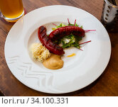 Grilled sausages with mustard and horseradish. Czech beer snack. Стоковое фото, фотограф Яков Филимонов / Фотобанк Лори
