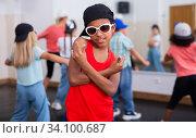 Купить «Afro boy hip hop dancer exercising at class», фото № 34100687, снято 15 июля 2020 г. (c) Яков Филимонов / Фотобанк Лори