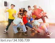 Купить «Kids training hip hop in dance studio», фото № 34100739, снято 30 июня 2020 г. (c) Яков Филимонов / Фотобанк Лори