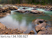 Купить «Water autumn landscape. A shallow fast mountain river with a rocky bottom. Ural.», фото № 34100927, снято 16 октября 2012 г. (c) Акиньшин Владимир / Фотобанк Лори