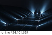 Background of empty dark podium with lights and tile floor. 3d rendering. Стоковая иллюстрация, иллюстратор Евдокимов Максим / Фотобанк Лори