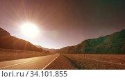 Купить «Mountain road timelapse at the summer or autumn sunset sunrise time. Wild nature and rural field.», видеоролик № 34101855, снято 6 июня 2018 г. (c) Александр Маркин / Фотобанк Лори