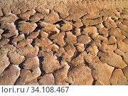 Купить «Background texture of dry cracked soil dirt sand or earth during drought.», фото № 34108467, снято 13 июля 2020 г. (c) age Fotostock / Фотобанк Лори