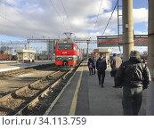 Купить «Nizhny Novgorod railway station in Russia. Along the Trans-Siberian Railway. Photo: André Maslennikov.», фото № 34113759, снято 23 октября 2018 г. (c) age Fotostock / Фотобанк Лори