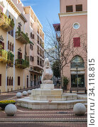 Small square with Purrl Gallery jewellery shop and fountain in Saifi Village residential upscale neighbourhood located in Beirut, Lebanon. Стоковое фото, фотограф Konrad Zelazowski / age Fotostock / Фотобанк Лори