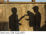 Shadows of two men feeding Macaque (Macaca sp) at Galtaii or Monkey Temple. Near Jaipur, Rajasthan, India. Стоковое фото, фотограф Karine Aigner / Nature Picture Library / Фотобанк Лори