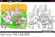 Cartoon Illustration of Rabbits Animal Characters Group Coloring Book Worksheet. Стоковое фото, фотограф Zoonar.com/Igor Zakowski / easy Fotostock / Фотобанк Лори