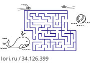 Купить «Black coloring pages with maze. Cartoon whale and ball. Kids education art game. Template design with sea animal on white background. Outline vector», иллюстрация № 34126399 (c) Dmitry Domashenko / Фотобанк Лори