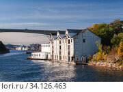Kristiansund bay entrance, coastal Norwegian town (2016 год). Стоковое фото, фотограф EugeneSergeev / Фотобанк Лори