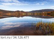 Rural Norwegian landscape with still lake (2016 год). Стоковое фото, фотограф EugeneSergeev / Фотобанк Лори