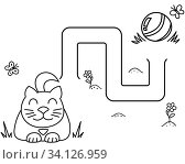 Купить «Black coloring pages with maze. Cartoon cat and clew. Kids education art game. Template design with pet on white background. Outline vector», иллюстрация № 34126959 (c) Dmitry Domashenko / Фотобанк Лори