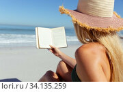 Купить «Rear view of woman reading a book while sitting on the beach», фото № 34135259, снято 25 февраля 2020 г. (c) Wavebreak Media / Фотобанк Лори