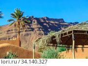 Купить «Roof of a hut made of palm leaf with mountain on background», фото № 34140327, снято 5 июля 2020 г. (c) easy Fotostock / Фотобанк Лори