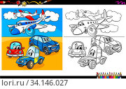 Cartoon Illustration of Planes and Cars Characters Group Coloring Book Worksheet. Стоковое фото, фотограф Zoonar.com/Igor Zakowski / easy Fotostock / Фотобанк Лори