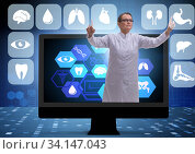 Telehealth concept with doctor doing remote check-up. Стоковое фото, фотограф Elnur / Фотобанк Лори