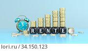 Купить «German text Rente, translate pension. 3d illustration.», фото № 34150123, снято 5 августа 2020 г. (c) easy Fotostock / Фотобанк Лори