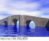Steinerne Bogenbrücke im Wasser. Стоковое фото, фотограф Zoonar.com/Dr. Norbert Lange / easy Fotostock / Фотобанк Лори