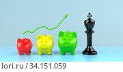 Купить «Successful strategy in investing money visualized with piggy banks. 3d illustration.», фото № 34151059, снято 5 августа 2020 г. (c) easy Fotostock / Фотобанк Лори