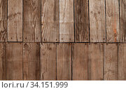 Купить «Close up background texture of old vintage rustic weathered wooden panel with vertical planks», фото № 34151999, снято 10 июля 2020 г. (c) easy Fotostock / Фотобанк Лори