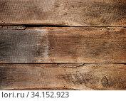 Купить «Close up background texture of old vintage rustic weathered wooden panel with horizontal planks», фото № 34152923, снято 10 июля 2020 г. (c) easy Fotostock / Фотобанк Лори