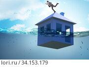 Купить «Mortgage repayment failure concept with man», фото № 34153179, снято 11 июля 2020 г. (c) Elnur / Фотобанк Лори