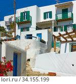 Houses in Mykonos in Greece (2018 год). Стоковое фото, фотограф Роман Сигаев / Фотобанк Лори