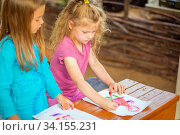 Two pretty girls draw on paper with felt-tip pens pictures on nature on a summer sunny day. Стоковое фото, фотограф Акиньшин Владимир / Фотобанк Лори