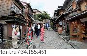 Купить «Slow motion video of tourisrs people on Sanneizaka street in Kyoto, Japan», видеоролик № 34155451, снято 16 июня 2020 г. (c) Serg Zastavkin / Фотобанк Лори