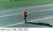 Flight over hitchhiker tourist walking on asphalt road. Huge rural valley at summer day. Backpack hiking guy. Стоковое видео, видеограф Александр Маркин / Фотобанк Лори