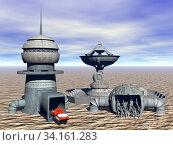 Militärkomplex mit Fahrzeug in der Wüste. Стоковое фото, фотограф Zoonar.com/Dr. Norbert Lange / easy Fotostock / Фотобанк Лори