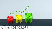 Купить «Growth chart of piggy bank on the table. 3d illustration.», фото № 34163679, снято 5 августа 2020 г. (c) easy Fotostock / Фотобанк Лори