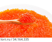 Little wooden spoon with salted russian red caviar of sockeye salmon fish over plastic container with red roe of pink salmon isolated on white background. Стоковое фото, фотограф Zoonar.com/Valery Voennyy / easy Fotostock / Фотобанк Лори