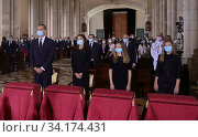 King Felipe VI of Spain, Queen Letizia of Spain, Crown Princess Leonor, Princess Sofia attend Covid-19 mass Funeral at La Almudena Cathedral on July 7, 2020 in Madrid, Spain. Редакционное фото, фотограф Manuel Cedron / age Fotostock / Фотобанк Лори