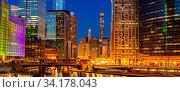 Купить «Panorama shot of City of Chicago downtown and Chicago River sunset night in Chicago Illinois USA.», фото № 34178043, снято 9 июля 2020 г. (c) easy Fotostock / Фотобанк Лори