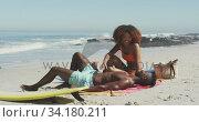 Купить «African American couple enjoying at beach», видеоролик № 34180211, снято 25 февраля 2020 г. (c) Wavebreak Media / Фотобанк Лори
