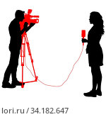 Silhouette operator removes journalist with microphone on a white background. Стоковое фото, фотограф Zoonar.com/Alexander Strela / easy Fotostock / Фотобанк Лори