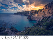 View of the Cliffs near Skinari Cape in summer on Zante Island, Greece. Стоковое фото, фотограф Zoonar.com/Pawel Opaska / easy Fotostock / Фотобанк Лори