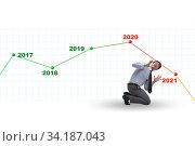 Купить «Businessman in market crash concept», фото № 34187043, снято 4 августа 2020 г. (c) Elnur / Фотобанк Лори
