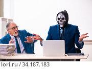 Купить «Old businessman employee getting deal with the devil», фото № 34187183, снято 9 декабря 2019 г. (c) Elnur / Фотобанк Лори