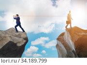 Купить «Boss holding his employee in retention concept», фото № 34189799, снято 3 августа 2020 г. (c) Elnur / Фотобанк Лори