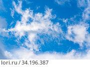 Купить «Soft white clouds against blue sky background», фото № 34196387, снято 9 июня 2020 г. (c) А. А. Пирагис / Фотобанк Лори