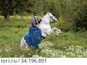 Купить «Young girl on a horse. Walking in the woods», фото № 34196891, снято 7 июня 2018 г. (c) Филатова Ирина / Фотобанк Лори