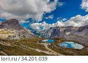 Three peaks. National Park Tre Cime di Lavaredo. Dolomites, South Tyrol, Italy. Стоковое фото, фотограф Zoonar.com/Konstantin Kalishko / easy Fotostock / Фотобанк Лори