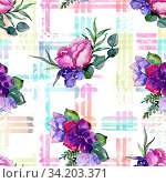 Купить «Blue bouquet flowers in a watercolor style. Seamless background pattern. Full name of the plant: peony. Aquarelle wildflower for background, texture, wrapper pattern, frame or border.», фото № 34203371, снято 14 июля 2020 г. (c) easy Fotostock / Фотобанк Лори