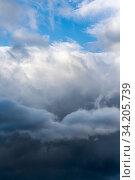 Купить «Scenery dramatic thunderstorm clouds with blue sky background», фото № 34205739, снято 9 июня 2020 г. (c) А. А. Пирагис / Фотобанк Лори