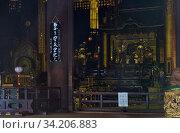 The interior of the Hobutsu-den hall at the Chion-in temple. Kyoto. Japan (2007 год). Редакционное фото, фотограф Serg Zastavkin / Фотобанк Лори